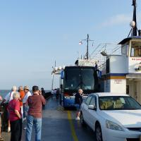 The Hatteras to Ocracoke ferry, while not very large, easily accommodated our tour coach.