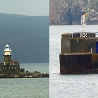 Two lights in the harbor at Fishguard.