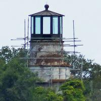 What little we could see of the Little Cumberland Island Lighthouse was surrounded by some scaffolding - but we did see it!