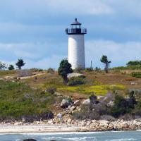 Tarpaulin Cove Lighthouse on Naushon Island, part of the Elizabeth Islands, is seven miles long lying just southwest of Cape Cod and four miles north of Martha's Vineyard.  At 7.5 square miles, it is the largest of the islands in the chain.