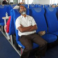 Thomas, our coach driver, took advantage of our Buzzards Bay cruise to catch up on some well deserved sleep!