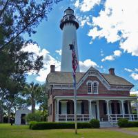 After the original St Simons Lighthouse was destroyed during the Civil War, the current tower and Victorian duplex were constructed in 1872.