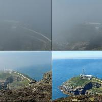 Progression of fog lifting at South Stack Lighthouse.  Top left is when the hardy travelers descended into the darkness.