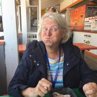Sandra enjoying her lunch at Ocean City
