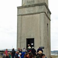 The group anxiously awaits the opportunity to get inside the Alcatraz lighthouse.
