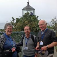 Kathy, Bob, and Chris in front of the Trinidad Lighthouse.