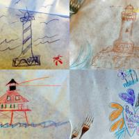 A lighthouse coloring contest at dinner in Fort Bragg resulted in some great drawings.  Someone didn't understand the theme!