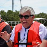 Randall on the boat to Cedar Key