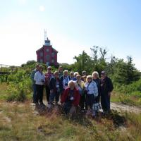 Small group photo at Marquette Harbor Lighthouse.