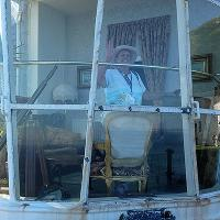 "We were provided an ""inside"" look at Great Orme.  Here Wanda checks out the lantern room,now a sitting room."