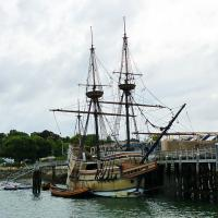 On the way out of the harbor in Plymouth we passed the replica of the Mayflower.