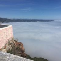 Fog covering view of Mexico, we are above the clouds