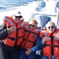 The Granite Island Kodiak transports nine group members 12 miles into Lake Superior to tour the remote lighthouse