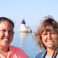 Debbie and Casey with Detroit River Lighthouse