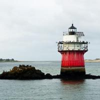 """The coffeepot-shaped Duxbury Pier lighthouse is locally known as """"Bug Light"""" or simply """"The Bug."""""""