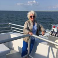 Lisa on the boat to Chesapeake Lighthouse