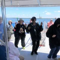 Dancing on the boat from Anclote Key Lighthouse