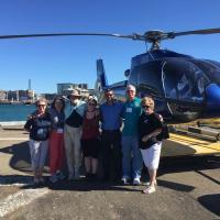 Last Helicopter Flight from Wellington: Sally, Evelyn, Ralph, Cassandra, Pilot, Jerry, Marjie