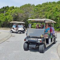 Our trip to the location of the Cape Fear Lighthouse was made easier with the aid of some golf carts.
