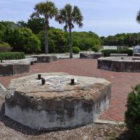 All that remains of the Cape Fear light station are the footings for the tower and the redbrick generator room.