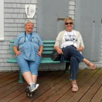 On our last day, folks like Shirley and Mary, took advantage of benches to grab a quick rest.
