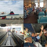 IOM ferry terminal, ferry lounge, roller coaster coach ramp & children screaming on the ride down!