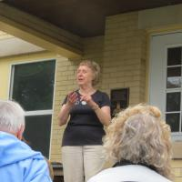 Mary, Sand Hills Innkeeper, shared the history of the lighthouse and how she and her husband have maintained it as a B & B.