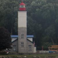 Ogdensburg Lighthouse as seen from the Canadian shore. Privately owned
