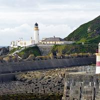 Sailing into the harbor at Isle of Man - Douglas Head and Pier Light