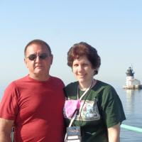 Mike and Kelly with Detroit River Lighthouse