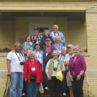 Chesapeake Chapter took the opportunity for a group photo on the steps of Sand Hills.