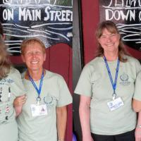 Mary Lee and Jill show off their identical t-shirts after lunch at Down On Main in Washington, North Carolina.