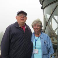 Leona and Allan take a moment to view the landscape at the top of the tower.