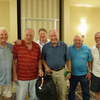 """The coach """"bag boys"""" were honored at the farewell dinner – Glen, Norm (head bagman), Joe, Bill, Don and Alan were recognized for the assistance provided in loading and unloading the bus"""