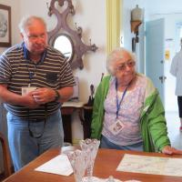 Steve and Nina are intent on listening to one of the volunteers discuss the history of Eagle Harbor Lighthouse.