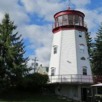 The Prescott lantern is from the original lighthouse and the lens was donated by Canadian Coast Guard