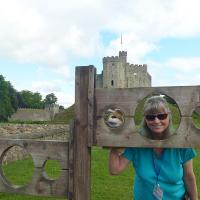 Mary Lee and Bosley in the stocks at Cardiff Castle