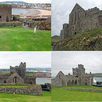 Peel Castle was built by the Vikings in the 11th century and stands on St Patrick's Isle which is connected to the town by a causeway.
