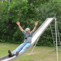 Mark prefers the slide at Brimley.