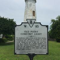Old Point Comfort Lighthouse and sign