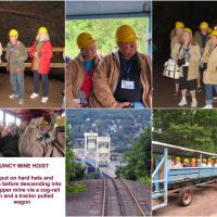 """Another stop was the Quincy Mine and Hoist.  We learned how copper was mined as we descending into the 7th level at a temperature of 40o.  Consensus was that this was a """"great"""" addition to our trip."""