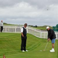 Bill took some time to miss several putts at the Bamburgh Castle Golf Club.