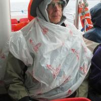 We did get rained on during our trip to Bass Rock, but Bob was prepared!