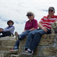 Bob, Elinor & John resting after walking to the Ile de Sein Lighthouse.