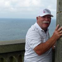 Brian climbed to the top of Phare d'Eckmuhl and hugged the top in thanks!
