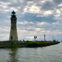 Buffalo Harbor Lighthouse and Buffalo North Breakwater Light