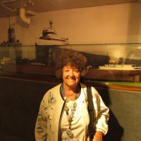 Cheryl in front of Titanic display at Kingsville Historical Museum
