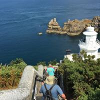 Climbing down to the Sark lighthouse
