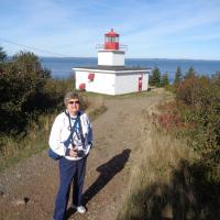 Carole at Long Eddy Point Light, Grand Manan Island