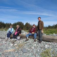 Carole, Ann, Joe and Jeff enjoying an impromptu picnic on Whitehead Island